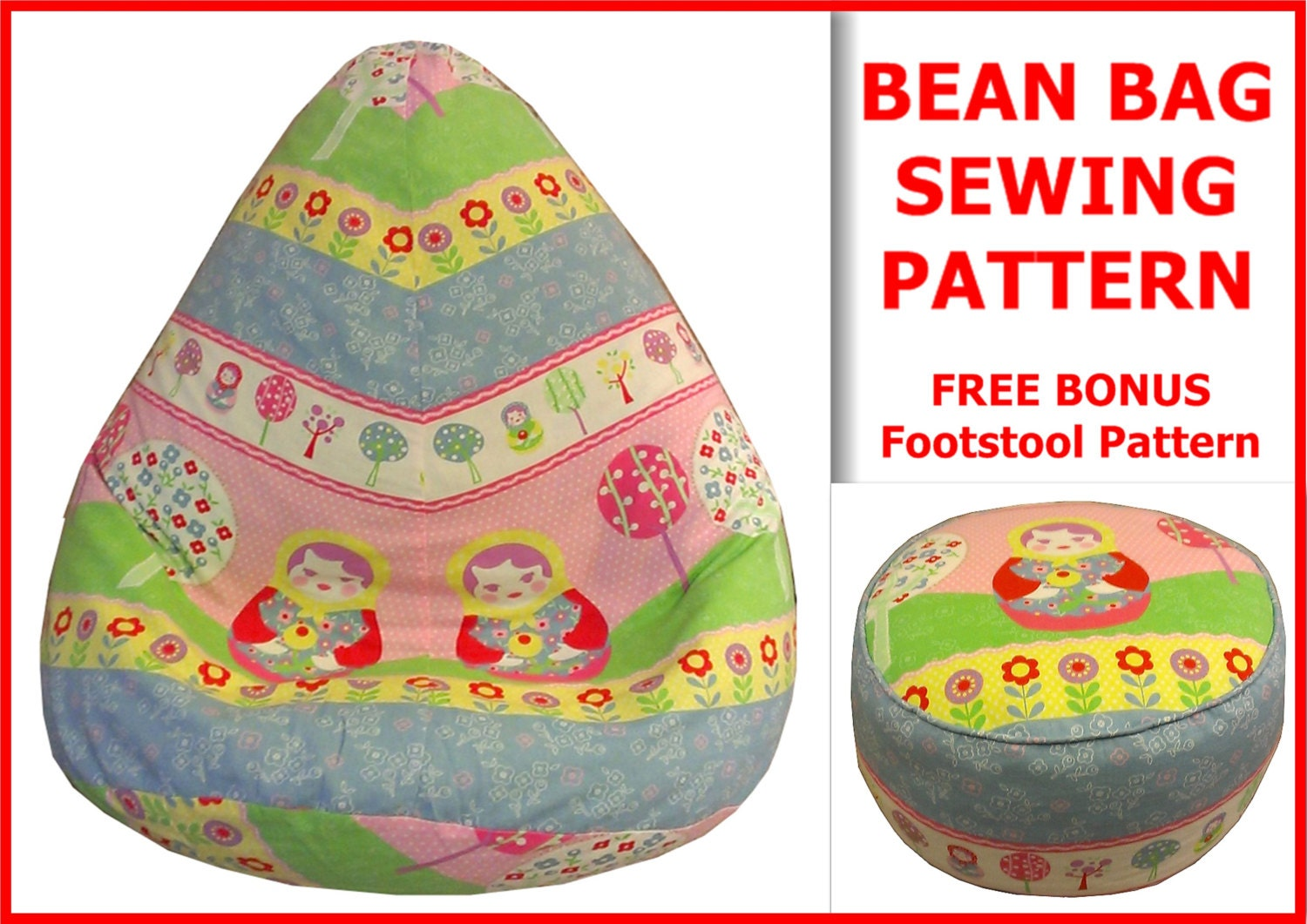 Adult Bean Bag Sewing Pattern With FREE Bonus Foot Stool Cushion - Adult bean bag pattern free