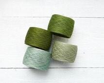 Laceweight crochet thread - green shades