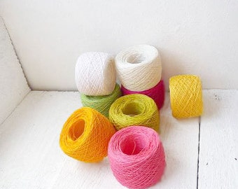Bright mix of linen thred - neon pink, yellow, green