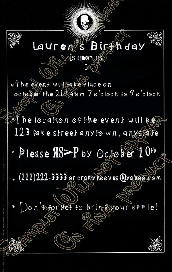 Death Note Party Invitations U-Print Custom Halloween Anime
