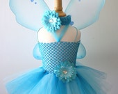 Baby Girls Turquoise and Aqua Fairy Tutu Set - Pick Size and Flowers