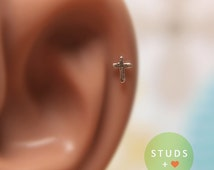 CARTILAGE or TRAGUS cross sterling silver/ cartilage earring tragus gold tragus earring cartilage cartilage ring nose studs