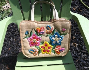 Flowered Straw Tote Bag