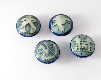 Cowboys & Indians Knobs for Western Lovers Dresser Cabinet Knobs Set of 4 or Buy Individually. Artisan Designed and Crafted in the USA