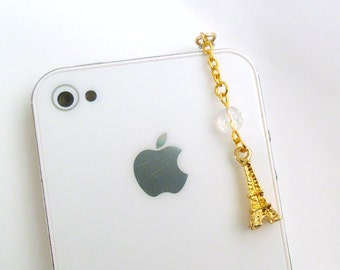 Gold Eiffel Tower Dust Plug Charm, For iPhone or iPod, Phone Charm, Cute And Feminine :)