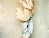 Soft Beige  Hobo Leather Hobo Bag