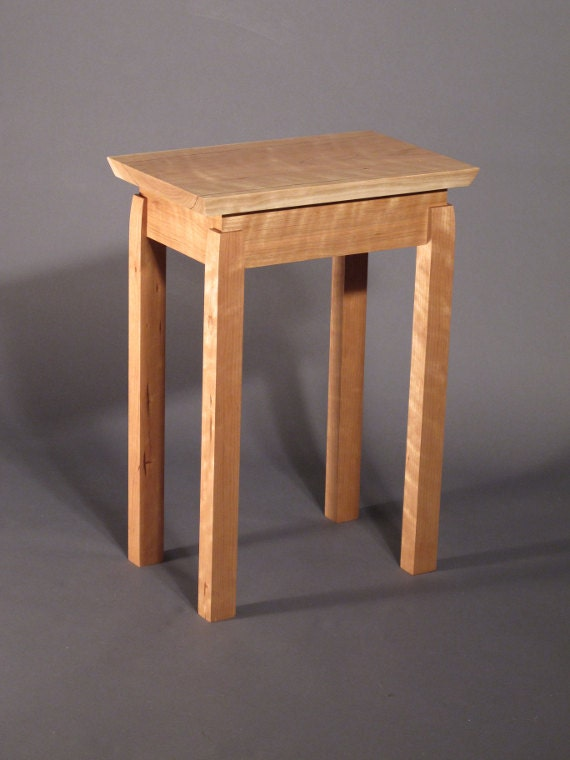 Small end table handmade custom wood furniture mid century for Small wood end table