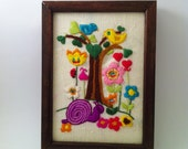 Vintage Retro Groovy Wall Hanging Bright Colors 1970s Embroidery