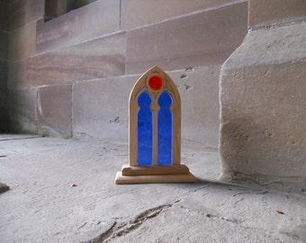 Replica English Styled Wooden Window - Oak Wood church window - Stained glass Wooden Window - Stained Glass Church Window