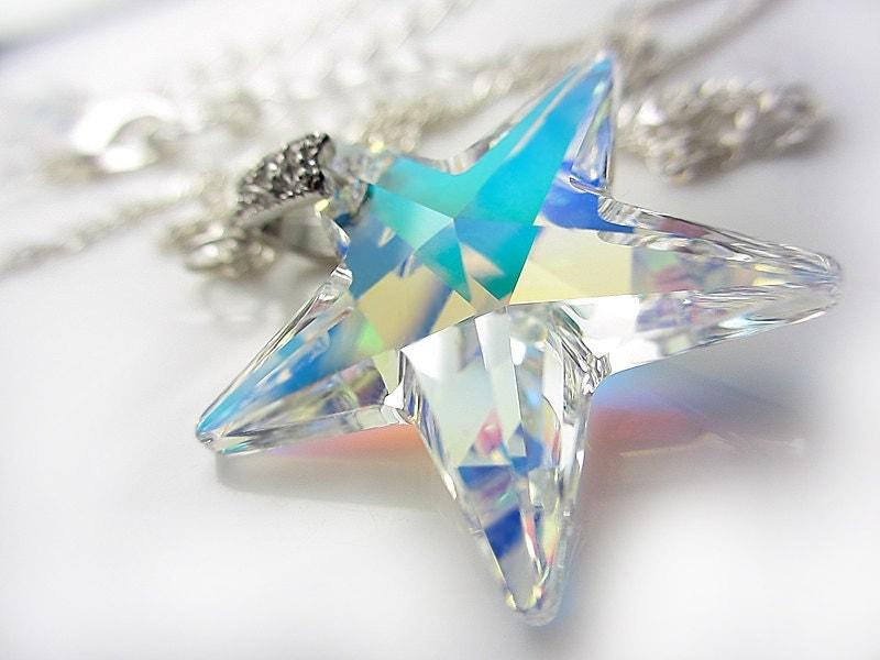 Large Swarovski Crystal Star Necklace Sterling Silver Aurora