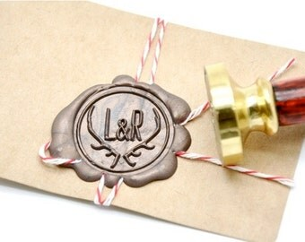 B20 Wax Seal STamp Personalized Woodland Wedding Double Initials Deer Antler