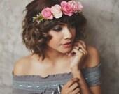 Summer pink rose floral,hair crown ,headband,Bridal Headband,headpiece,bridal hair accessories, wedding, FC-Q-13004