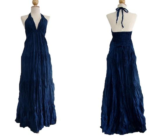 Navy Blue Maxi Dress Evening Dress / Halter Maxi By Idea2wear