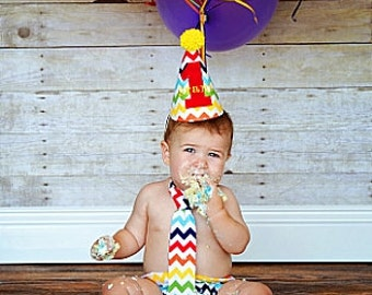 Personalized Chevron Baby Boy Cake Smash Outfit Tie, Diaper Cover, Party Hat