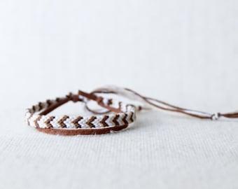 Friendship Bracelet Chevron Ivory Brown and White / Stocking Stuffer