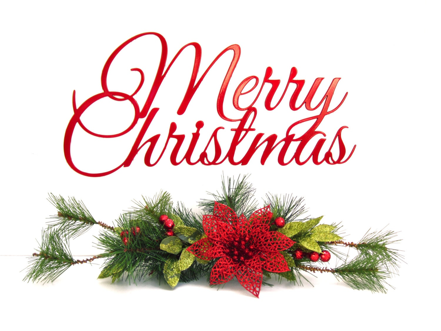 Merry christmas script metal sign red