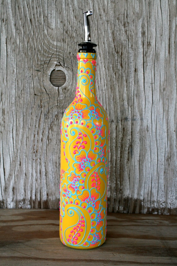 Hand Painted Wine bottle Olive Oil Pourer Sunny Yellow