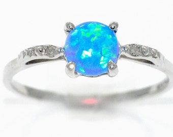 Blue Opal & Diamond Round Ring .925 Sterling Silver Rhodium Finish