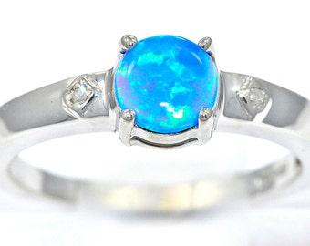 6mm Blue Opal & Diamond Round Ring .925 Sterling Silver Rhodium Finish