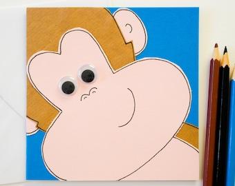 Cheeky Monkey Handmade Greeting Card, Funny Monkey Birthday Card, Animal card, Blank card, Friend card, Cute kids greeting card
