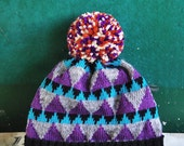 Magic Triangle Detachable PomPom Beanie Hat | for men | for women | colorful & cozy | handmade unisex gift