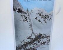 Over Chilkoot Pass During The Gold Rush Alaska, Vintage Alaska Postcard, Gold Rush Trail of 1898, Mining, Hand Tinted Postcard
