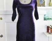 GOTHIC Purple Velvet Bodycon 90s Grunge Babydoll Dress Size XS