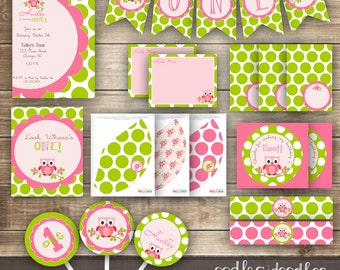 Owl Birthday, Owl Birthday Invitation, Owl Birthday Party, Owl Party Package, Girl's Birthday, Pink and Lime Green, Printable