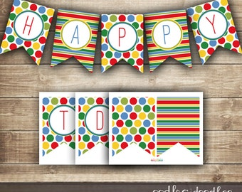 Happy Birthday Banner / Stripes and Polka Dots / Primary Colors / Children's or Kid's Birthday Banner / INSTANT DOWNLOAD - Printable