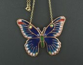 Navy Moth necklace, Blue Insect Jewelry, Monarch butterfly necklace, Bronze charm, Green glass enamel, Saphire art, Red wings, topaz color