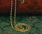 Antique Gold, 24 inch, 2.4mm, Ball Chain, Necklace, Matches Our Antique Gold Pendants (ADA-BCAG003)