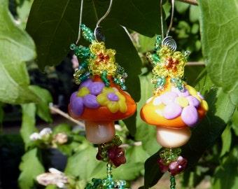 """Earrings ear plant """"Magic mushrooms"""""""