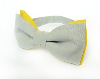 Yellow Grey Bow Tie Double Color Bow Tie Yellow Bow Tie for Men Wedding Bow Tie Groom Bow Tie Mens Bow Ties Gift for Men Gift for Hubby