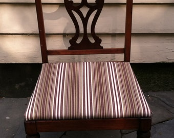 Vintage Harps Lyre Back Reupholstered Chair with Sheraton Style Legs