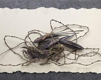Blank Card - 'Stomp' - Raven Paper Sculpture, Print
