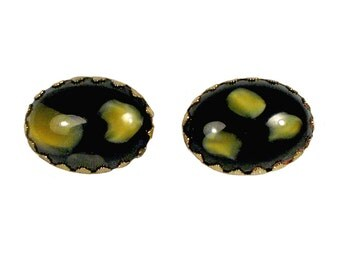 Vintage Black Cabochon Cuff Links with Gold Splashes