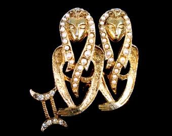 Vintage Egyptian Pharaoh Zodiac Gemini Brooch Pearls & Rhinestones