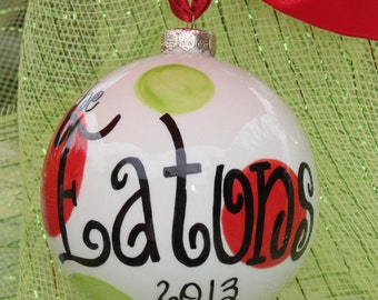 Lime & Red Bubble Ornament