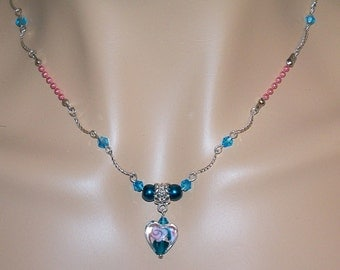 Blue and Pink Sweet Sixteen Necklace with Matching Earrings/ Blue and Pink Jewelry/ Women and Teens Necklace/ Blue and Pink Choker Necklace
