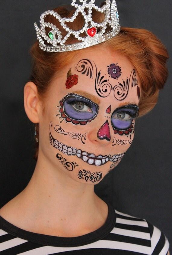 Sugar Skull Design 2 - Calavera - Temporary Costume Tattoos Makeup