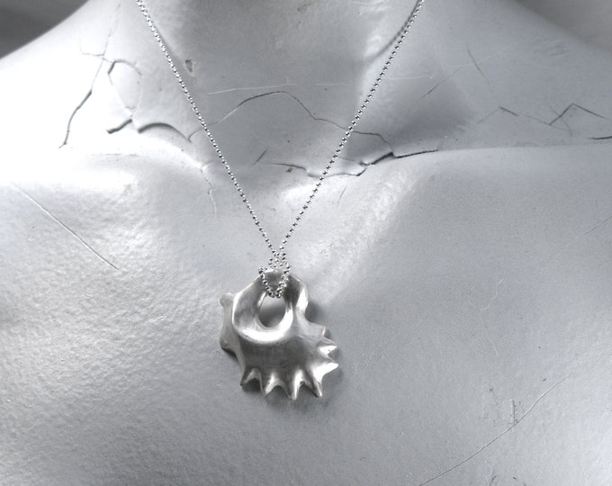 Antiqued Smooth Solid 925 Sterling Silver Hand Carved Rhode Island Oyster Casting on a 925 Sterling Silver 1mm Diamond Cut Bead Chain