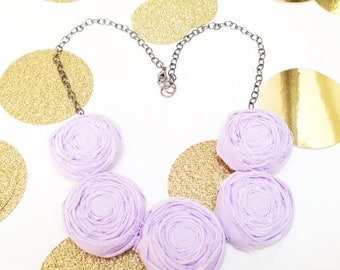 Lavendar Rosette Necklace