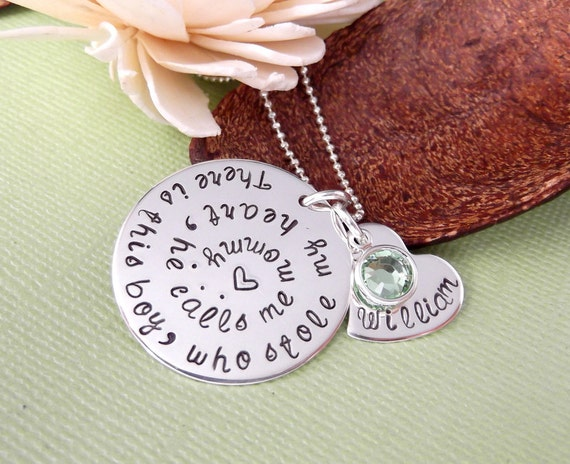 Mother and Son Necklace-Personalized Mommy Necklace- Hand Stamped Mommy Jewelry-  Who Stole My Heart Necklace- Mother and Son Jewelry