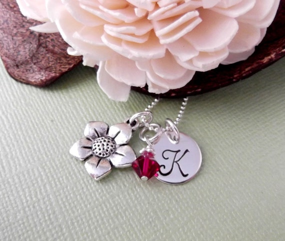 Flower Charm Necklace with Initial Charm and Birthstone- Flower Necklace- Children's Jewelry