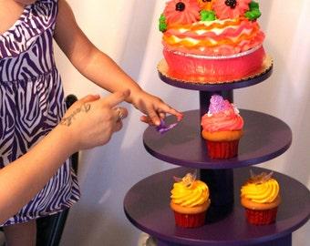 Purple Cupcake Stand 3 Tier 24 Cupcakes