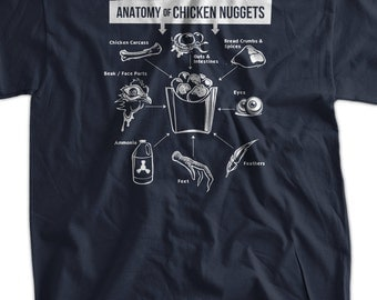 Funny Vegan Vegetarian T-Shirt Anatomy of Chicken Nuggets T-Shirt Screen Printed T-Shirt Tee Shirt T Shirt Mens Ladies Womens Youth Kids