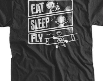 Pilot T-Shirt Plane T-Shirt Flying T-Shirt Eat Sleep Fly T-Shirt V3 Screen Printed T-Shirt Tee Shirt T Shirt Mens Ladies Womens Youth Kids