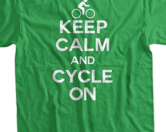 Bicycle Cycle Sport Athlete Keep Calm and Cycle On Tshirt T-Shirt Tee Shirt Mens Womens Ladies Youth Kids Geek Funny