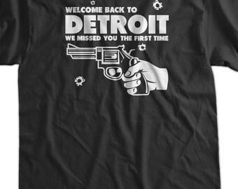 Welcome Back To Detroit We Missed You Gun Tshirt T-Shirt Tee Shirt Mens Womens Ladies Youth Kids Geek Funny