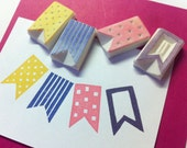 party flag rubber stamp, CHOOSE 1 ONLY - Flag stamp set, arrow stamp , geometric stamp, arrow rubber stamp, hand carved stamp, chevron stamp